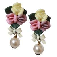 Earrings with three coloured flowers & pearl