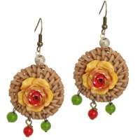 Rattan with yellow flower & pearls - earrings