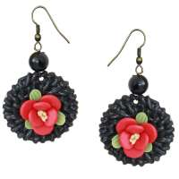 Earrings with black rattan ring and red flower
