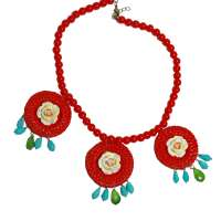 Red Bead Necklace with Rattan Pendants and Flowers