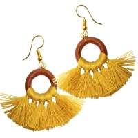 Earrings with yellow fringes / tassel