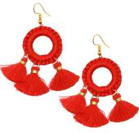 Red Tassel Trio - earrings