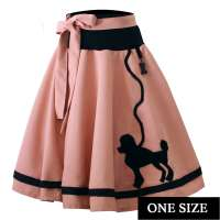 Circle skirt in pink with black poodle - one size