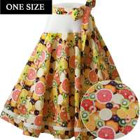 Yellow circle skirt with lemon slices & fruits - one size