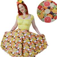 Circle skirt with lemons, oranges & other fruits - made to measure