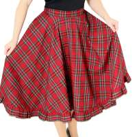 Circle skirt in red with tartan - made to measure