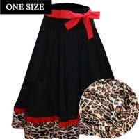 Circle Skirt in Black Red with Leopard Pattern - one size