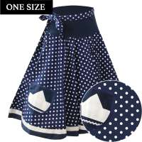 Maritime circle skirt with blue white dots and application - one size