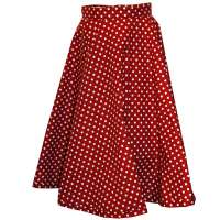 Red circle skirt with white polka dots - made to measure