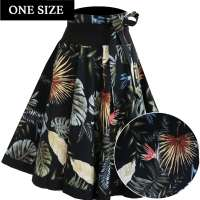 Black circle skirt with exotic palm leaves - one size