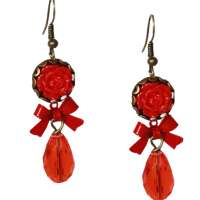 Sparkle earrings with red cut drops