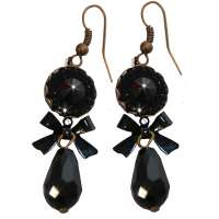 Black sparkle earrings with drops
