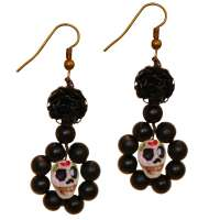Sugar skull earrings with black pearls