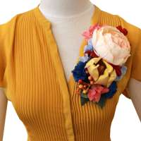 Colourful flower corsage - brooch, hair flower, hat flower