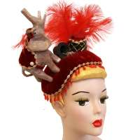 Circus - Large velvet headdress with elephant & feather