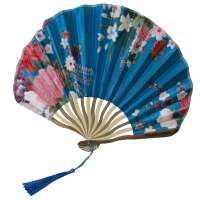 Fan with blossoms - blau