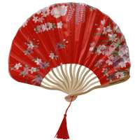 Fan with blossoms - red