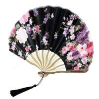 Fan with blossoms - black