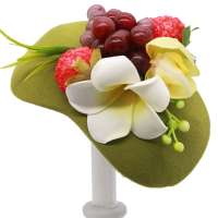 Green Half Hat/ Fascinator with Fruits and Hawaii Flowers