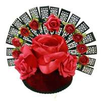 Fascinator in red with roses and black fan