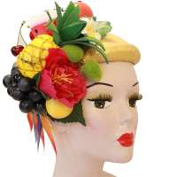 Fruit salad large colorful Fascinator/ Half Hat with lots of fruit