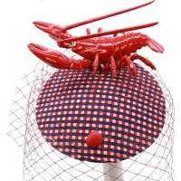 Red-Blue Fascinator with Jiggle Lobster
