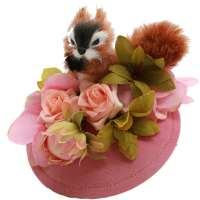 Fluffy squirrel and pink flowers fascinator