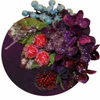Purple fascinator with glitter and frost effect