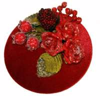 Red fascinator with glitter and frost effect