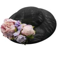 Black big hat with lilac purple flowers to change