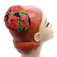 Black half hat with red flower lace - fascinator in vintage look