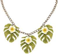 Monstera & weisse Frangipani Collier