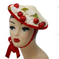Bright conical hat with cherries & flowers