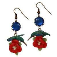 Blue Hummingbird & blue flower earrings