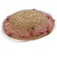 Straw hat small bowler with net & pink flowers