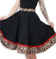 Black circle skirt with leopard pattern - made to measure