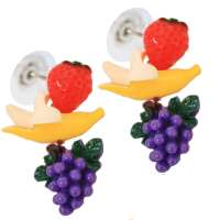 Ear studs with fruits - banana, grapes, strawberry
