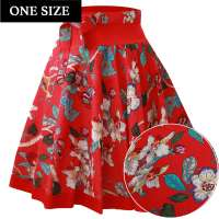 Red circle skirt with orchids - one size