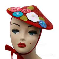 Conical hat red with colourful bast flowers