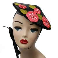 Black Conical hat with red bast flowers