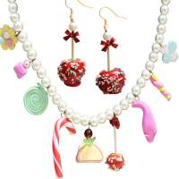 Set: Sweets - Collier & Liebesapfel - Ohrringe