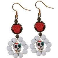 Ohrringe Sugar Skull & roter Rose