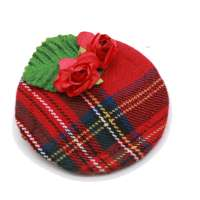 Mini Fascinator red Tartan pattern