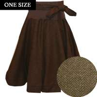 Circle skirt with herringbone pattern in dark brown - one size