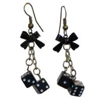 Earrings with small black dices