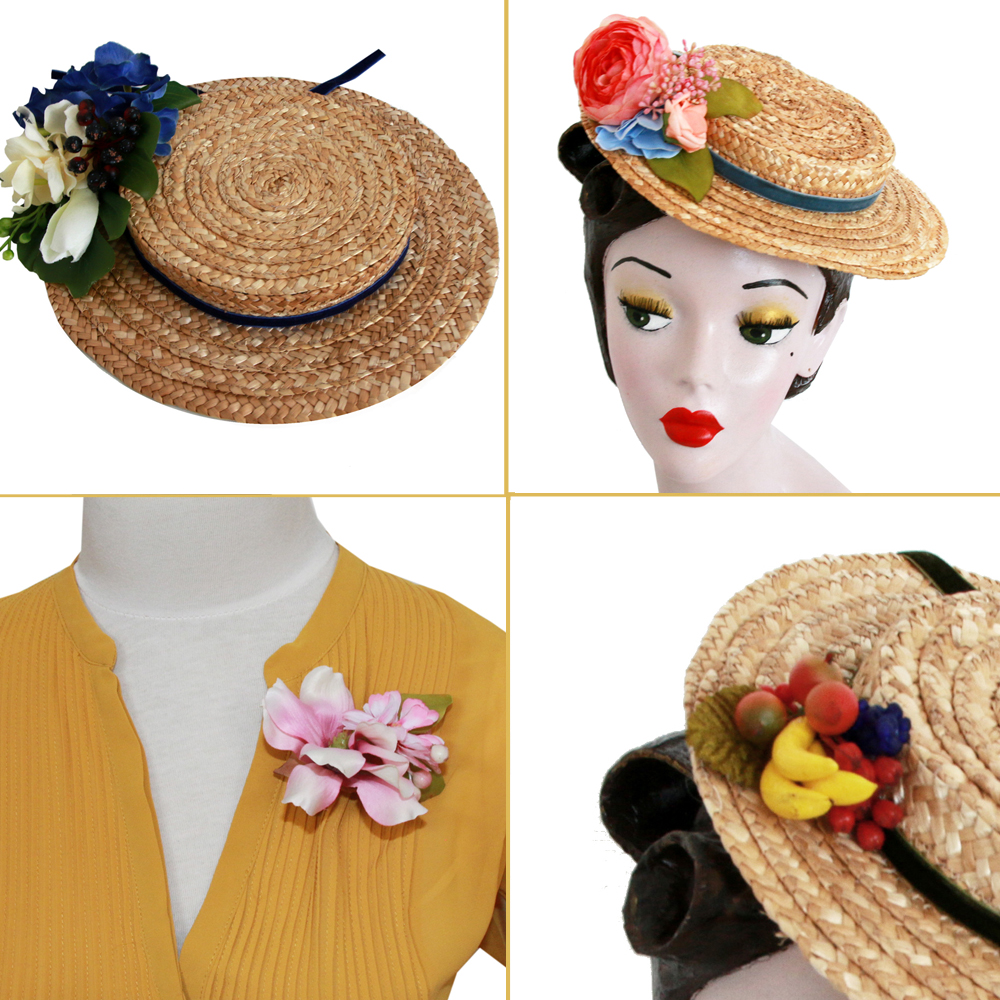 flower for straw hat & as brooch
